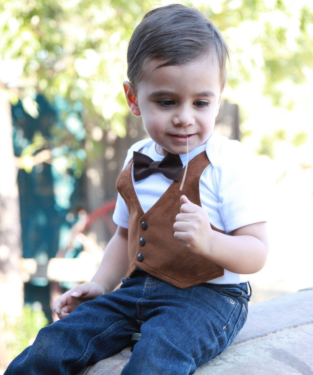 bddb73267 Fall Baby Clothes Boy Brown Suede Vest with Bow Tie Picture Outfit ...