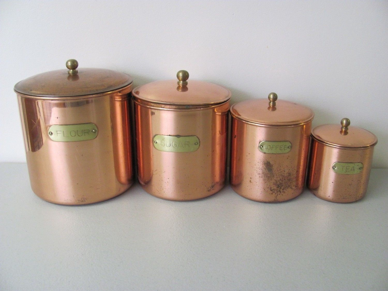 copper kitchen vintage copper plated kitchen canister set by