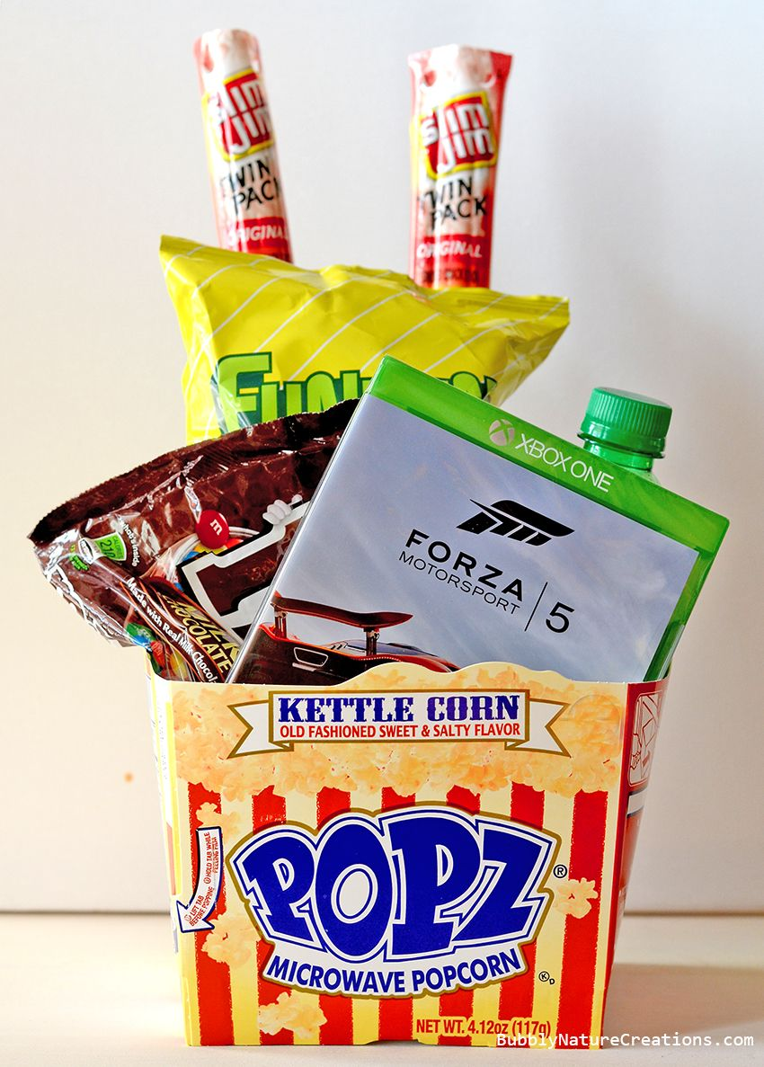 Gamer S Gift Basket Snack And Video Games Christmas Gift Baskets Christmas Gift Baskets Diy Video Games Gift