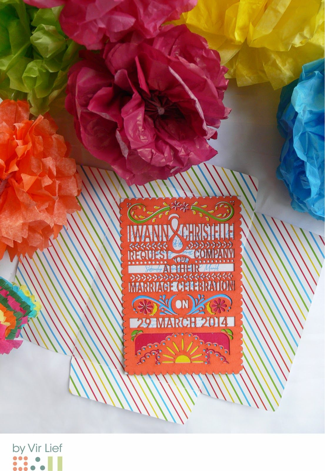 Colourful mexican themed wedding invitation & envelope by Vir Lief ...