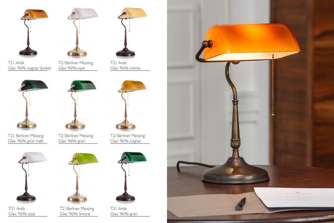 Jugendstil Bankerleuchte Mit Cognacglas Und Rundem Sockel Original Lamptique Bankerleuchte Das Modell T21 Ausfuhrung Antik Lampenschirm Lampe Art Deco Stil