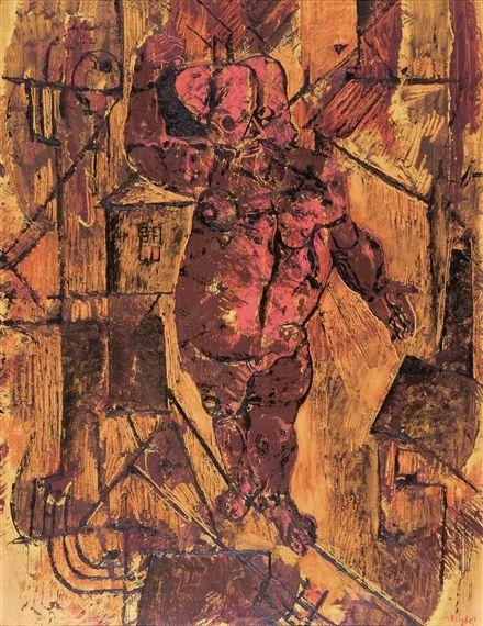 Frits van den Berghe - DE GEMASKERDE KOORDDANSER - LE FUNAMBULE AU MASQUE; Creation Date: 1928; Medium: Oil on paper on panel