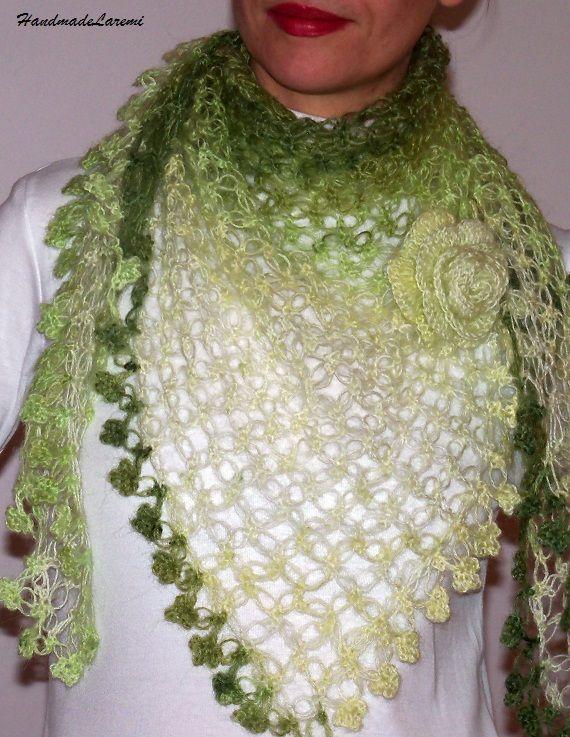 Freecrochetprintscarfpattern Green Crochet Triangular Shawl