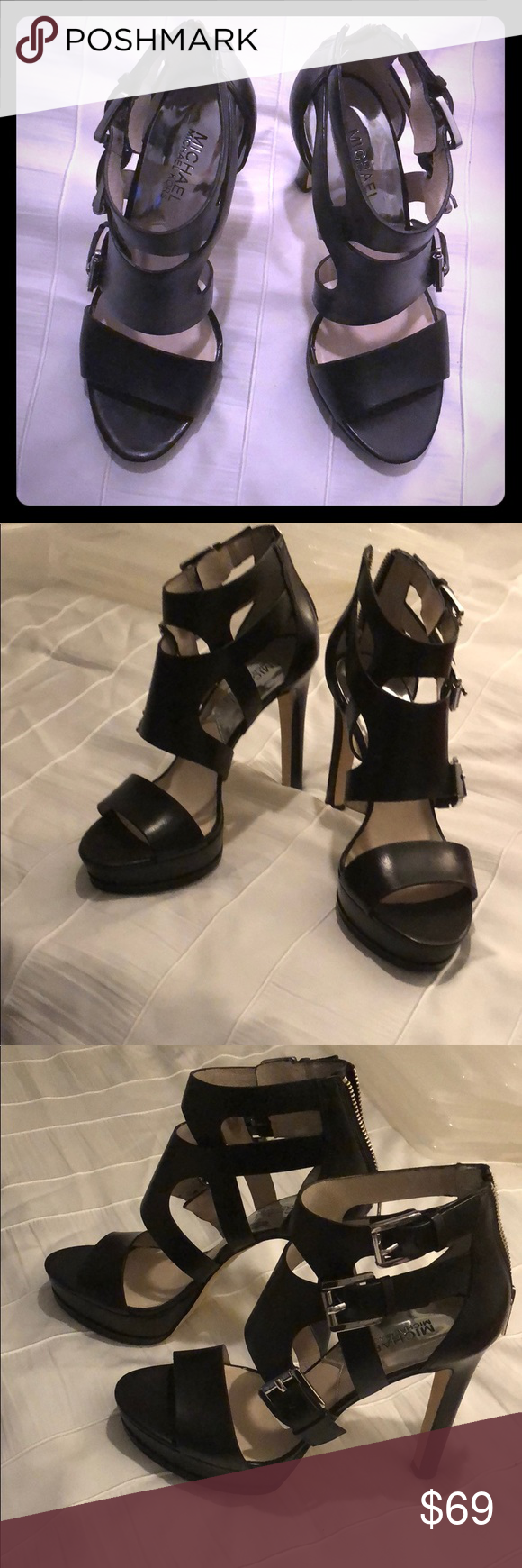 1861434a5bac Michael Kors Buckled Leather High Heel Sandal Michael Kors Strappy Buckled  Leather High Heel Sandal for