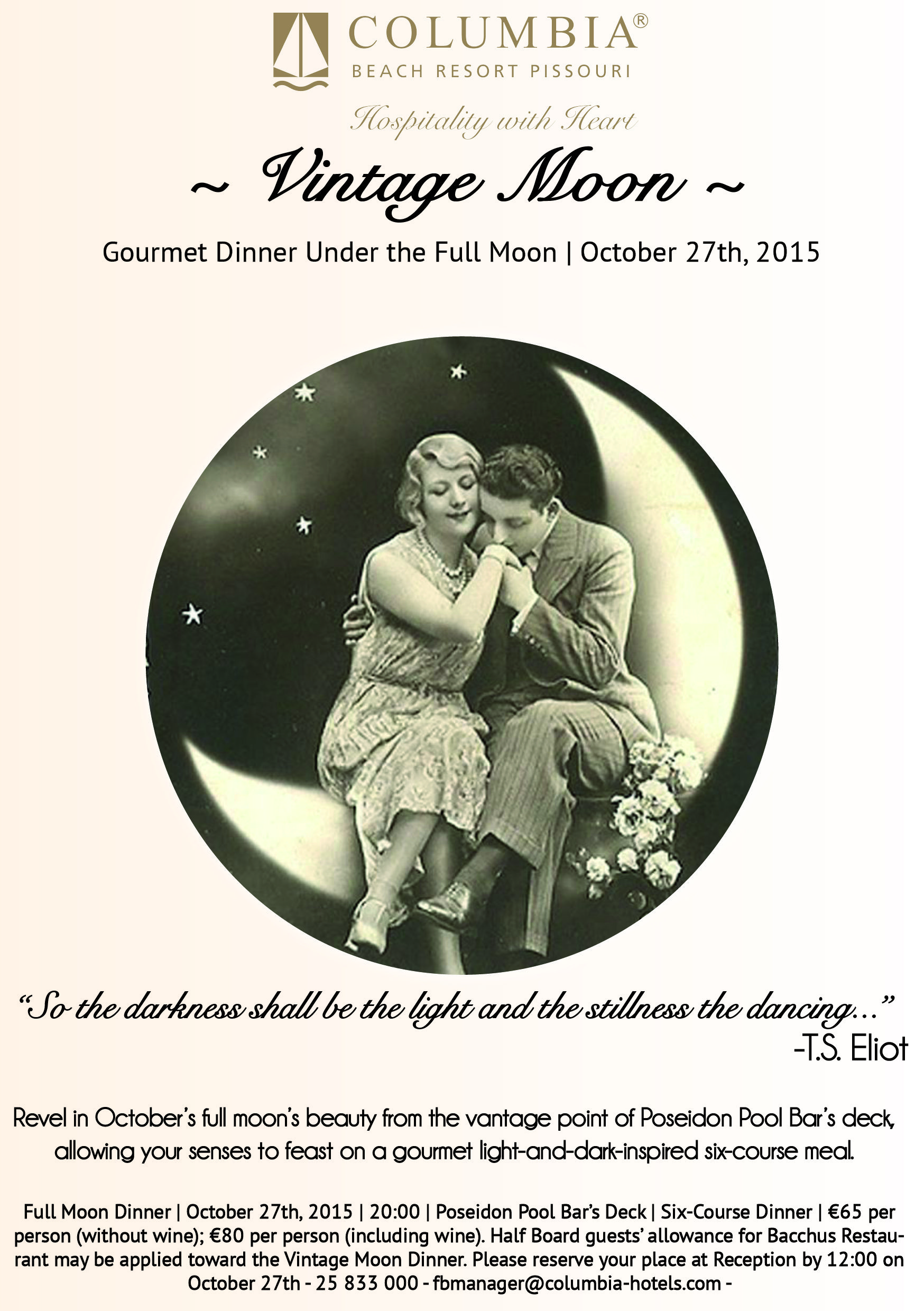 Back by popular demand, the last Full Moon dinner of the season: Vintage Moon! Sway to the sounds of old jazz classics as you avail yourselves of a light-and-dark inspired 6-course meal. Book now! #FullMoonDinner #UnderTheMoonlight #HospitalitywithHeart