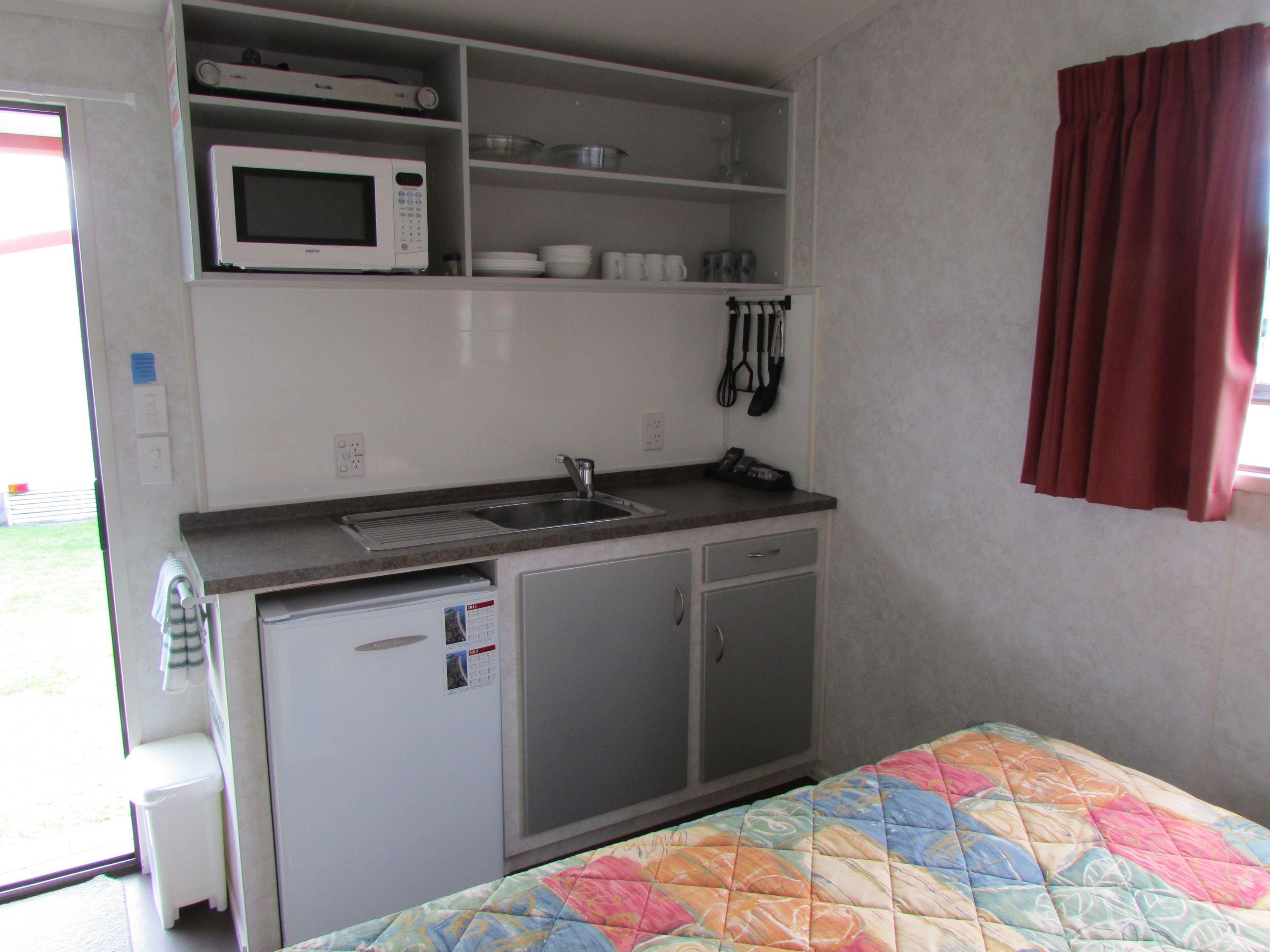 Kitchenette - Studio Plus Unit, Cosy Corner Holiday Park, Mt Maunganui, NZ