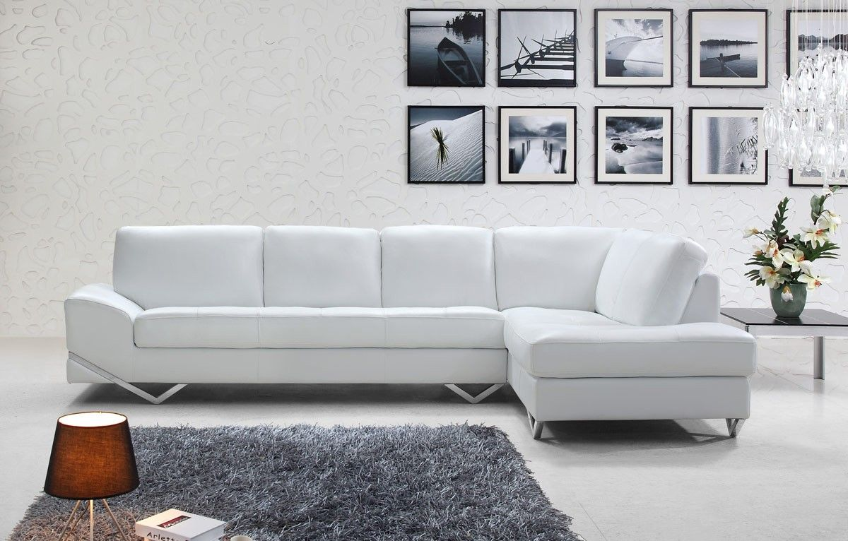 Contemporary Sectional Features A Tufted White Color With