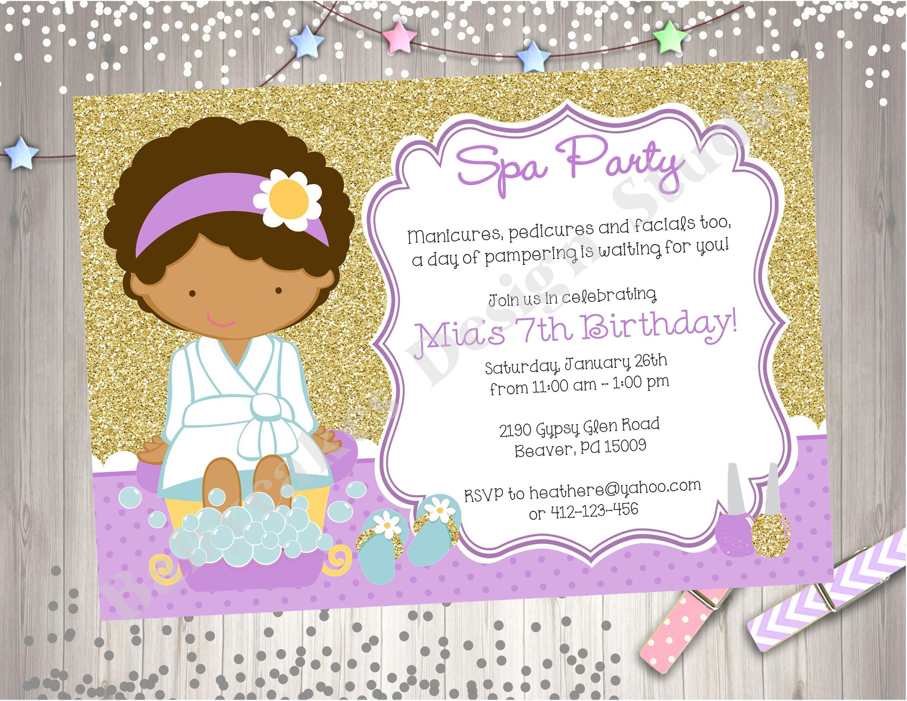 Spa Party Birthday Invitation Invite Purple and Gold Spa Birthday ...