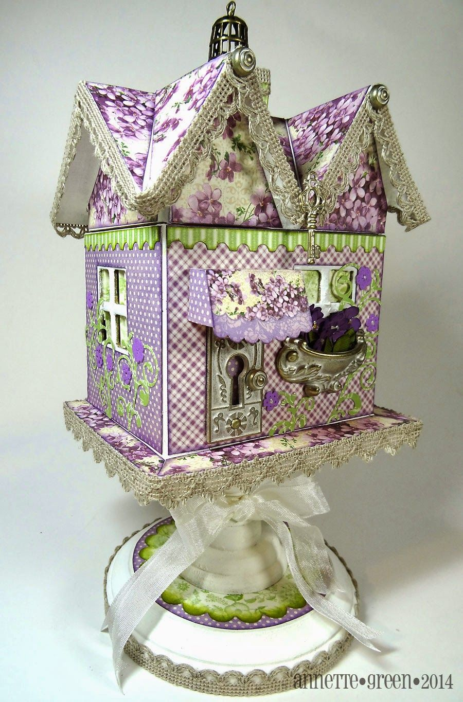 Tabletop birdhouse using Graphic 45 Sweet Sentiments and Shabby Chic staples, by Annette Green.