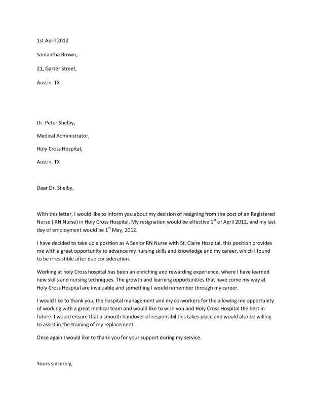 Rn Resignation Letter template Pinterest