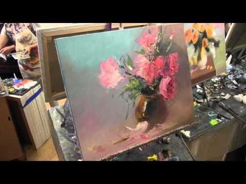 Рисуем цветы мастихином