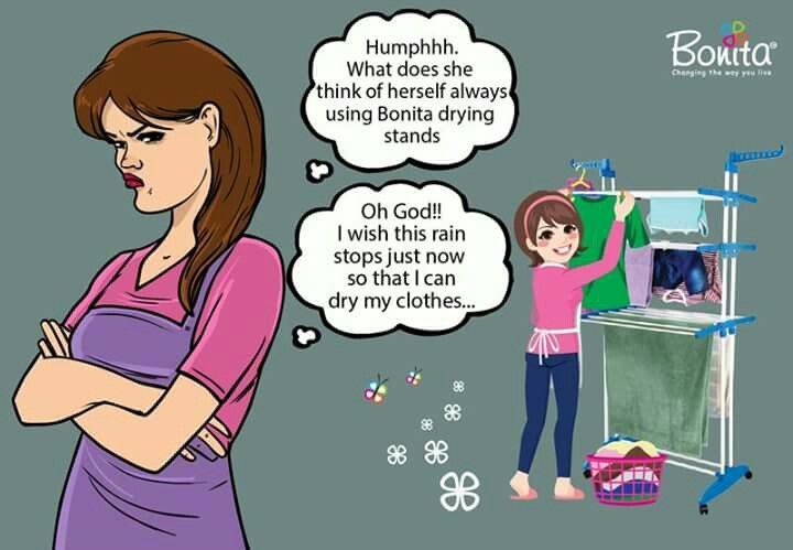 Enjoy the rains,don't get hassled over drying clothes. Use Bonita Drying Stands!   To know more/ shop online please visit: http://www.bonitaindia.com/products/11/dryers Also available at Home Town, Home Stop , Hyper City and Big Bazaar Stores at special offers.