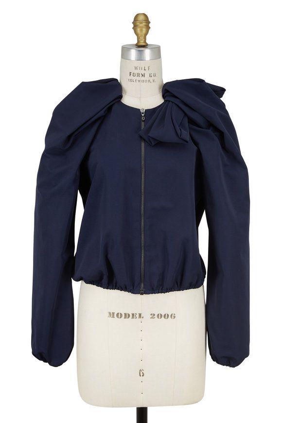 Midnight Blue Silk Faille Bow Jacket