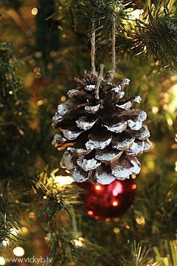 Snowy pinecone Christmas tree ornament