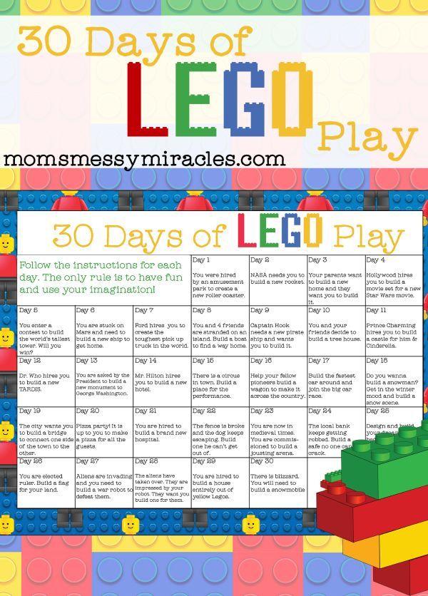 30 Days of LEGO Play - Free Printable Calendar | Lego challenge ...