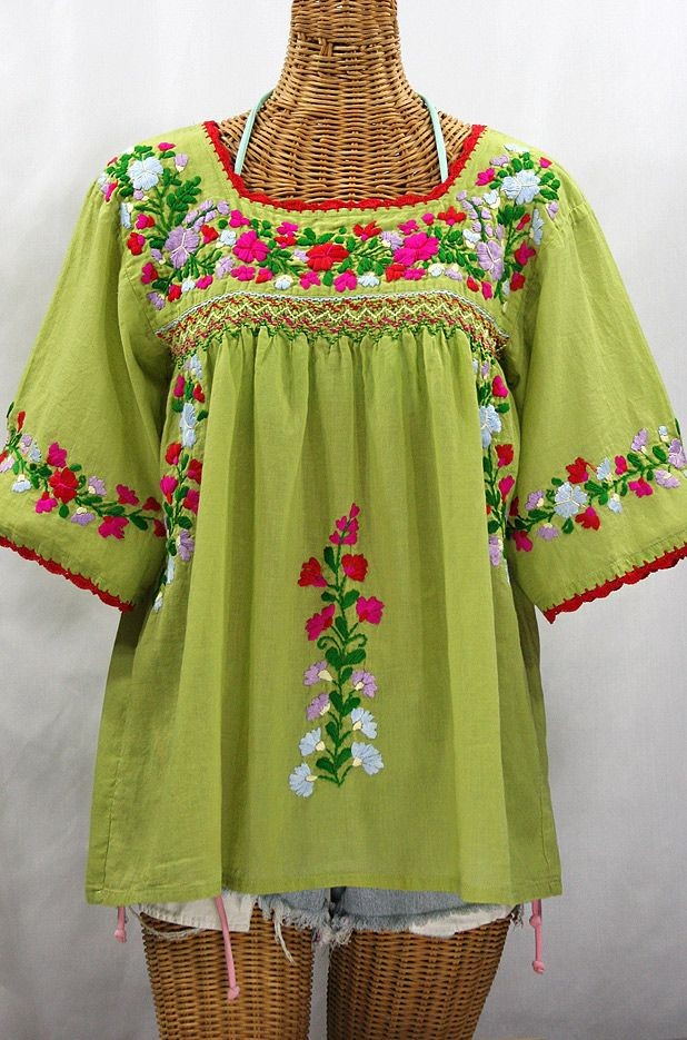La Marina Embroidered Mexican Peasant Blouse Moss Green Multi