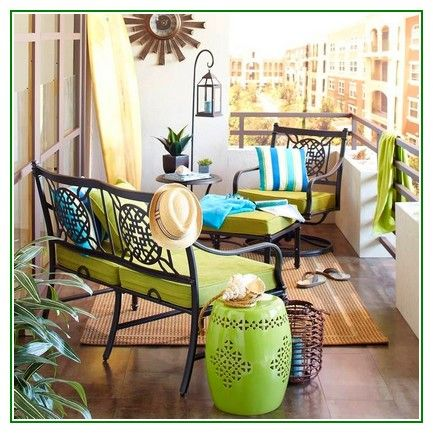 Nice tips Small Apartment Patio Ideas With Green Wrought Iron Chairs ...