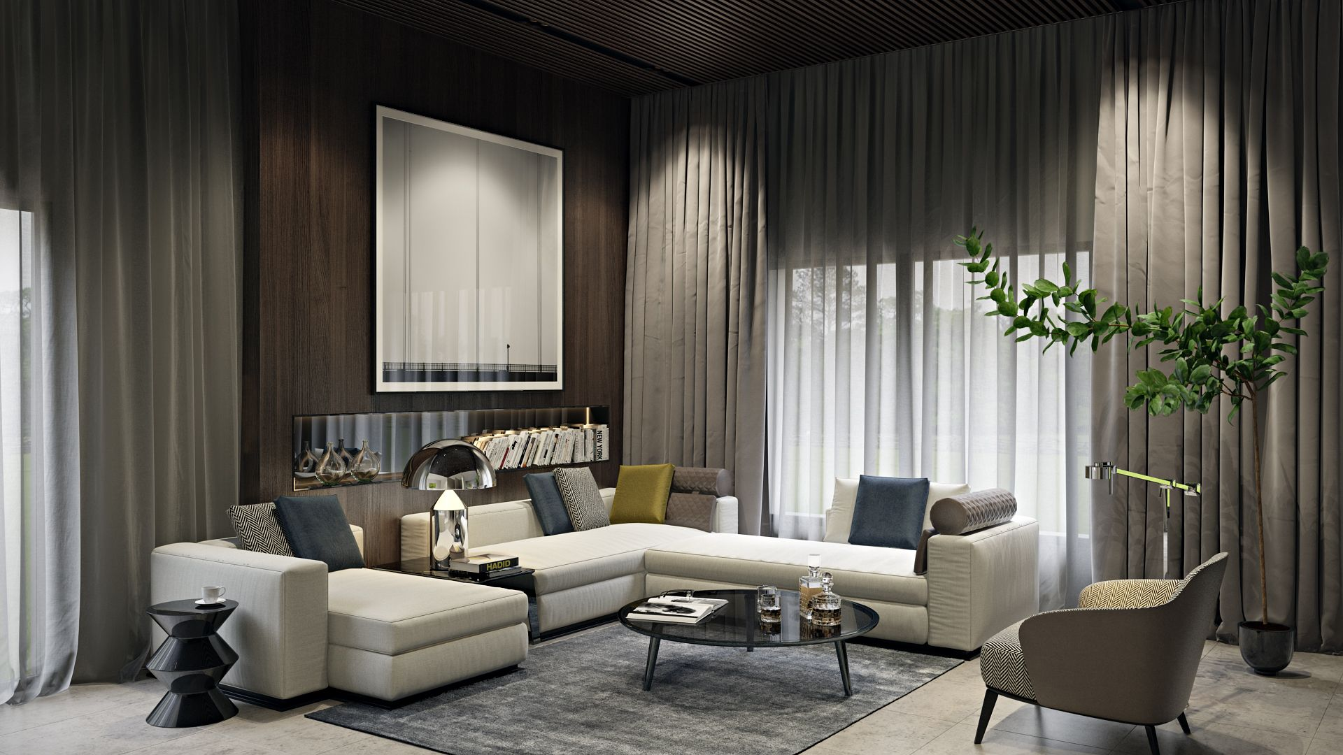 The effectiveness of this luxurious living room design depends on many colors and textures. 3D renderings help creating flawless presentations of your #design projects – learn more at archicgi.com