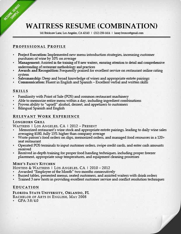 waitress combination resume sample Work Pinterest - waitress resume examples 2016