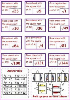 Free Math Square Root Car Racing Board Game  Teacherspayteachers