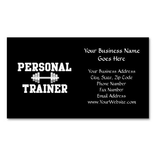 Personal Trainer Black And White Dumbell Training Business Card - Personal trainer business card template