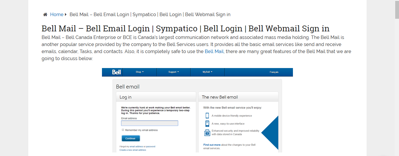 Bell Mail – Bell Email Login | Belle