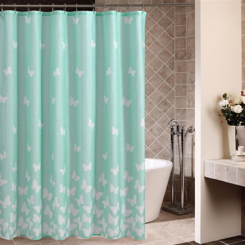 80 Inch Shower Curtain Liner Part - 48: Light Blue Shower Curtain With Sweet Butterfly