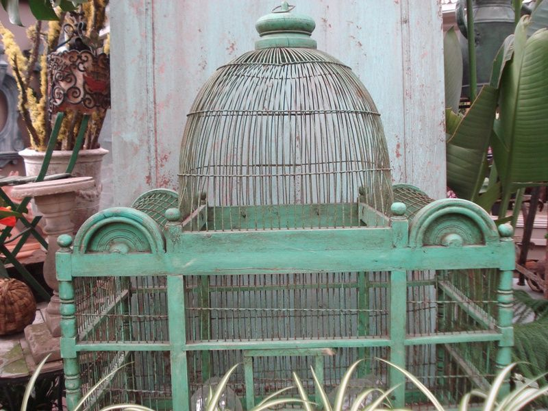 faded green birdcage