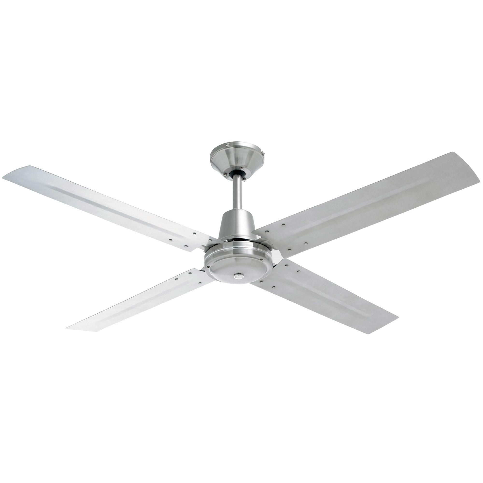 120cm Heller 4 Blade Brushed Stainless Steel Ceiling Fan In 2020 Ceiling Fan Stainless Steel Ceiling Fan Brushed Stainless Steel
