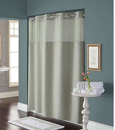 HooklessR Diamond Pique Mystery Shower Curtain And PEVA Liner