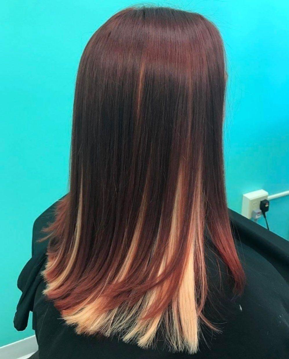 Mahogany Hair With Blonde Underlayer En 2020 Cheveux Couleur De Cheveux Platine Couleur Cheveux