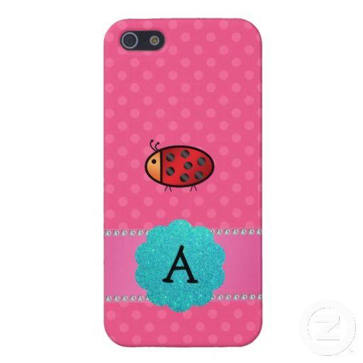 Monogram ladybug pink polka dots