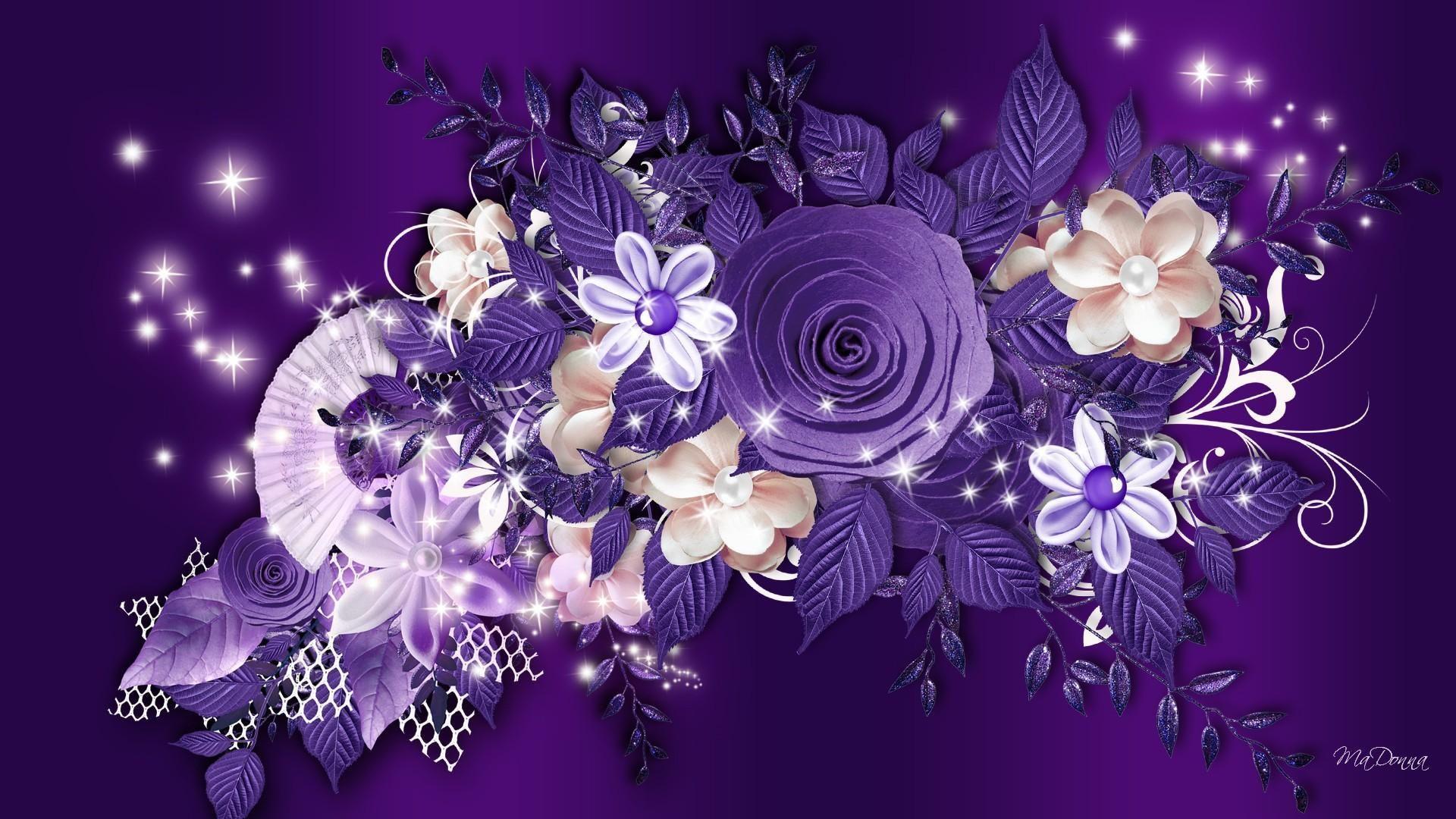 Открытка с днем рождения фиолетовые цветы