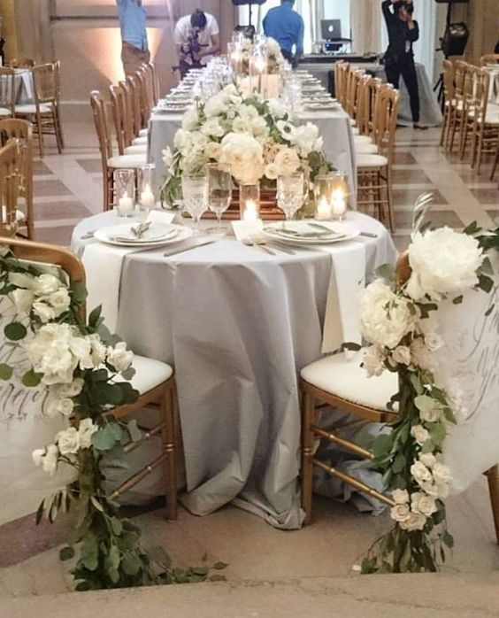 Indoor Wedding Themes: White Flower And Greenery Wedding Reception Decor