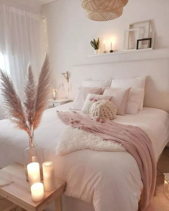 White Bedroom Decor For Minimal Aesthetic And Blush As A Pop Of Color Whitedecor Whitebed Whitewa Bedroom Design Trends Comfy Bedroom Decor Bedroom Decor