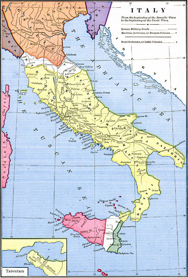 Tarentum Italy Map.Italy From The Beginning Of The Samnite Wars 343 Bc To The