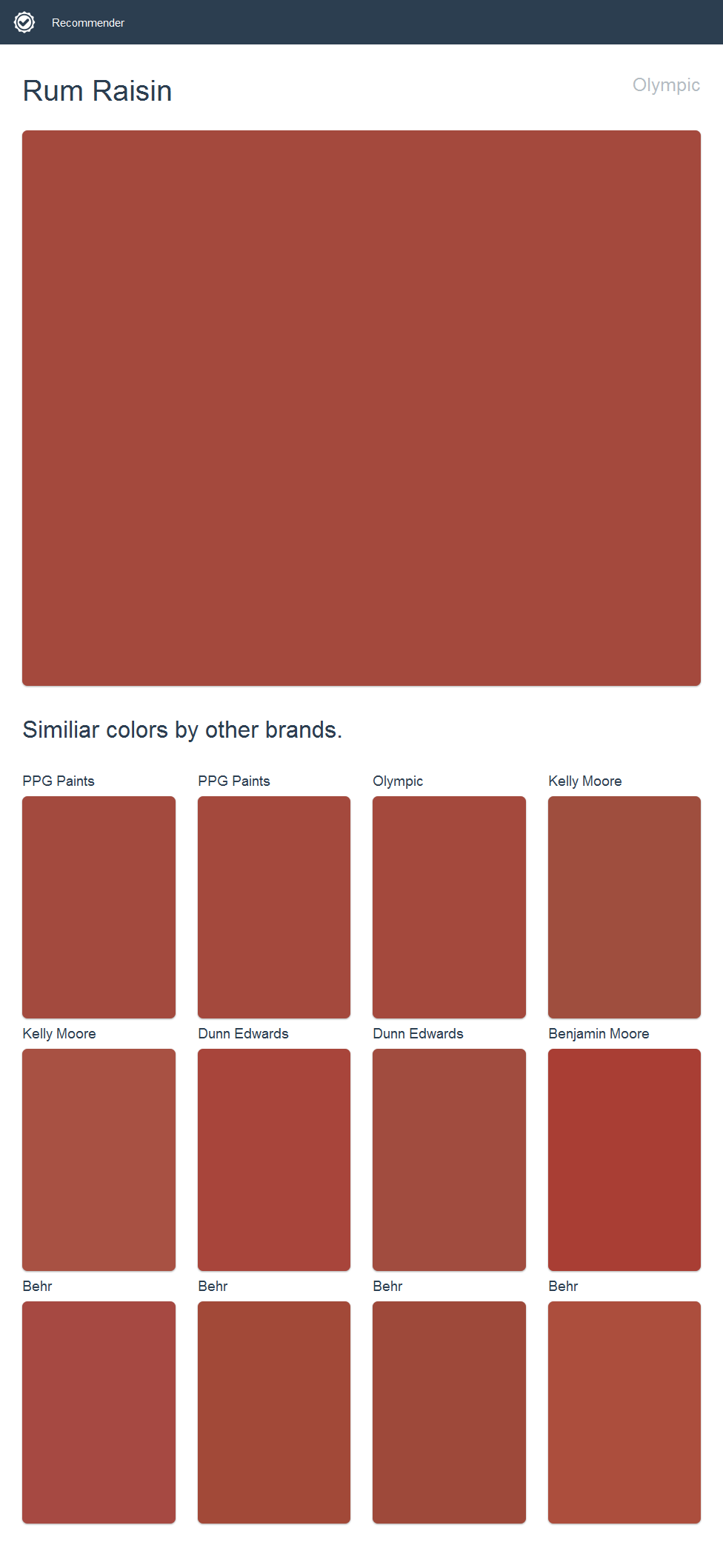 Rum Raisin, Olympic. Click the image to see similiar colors by other brands.