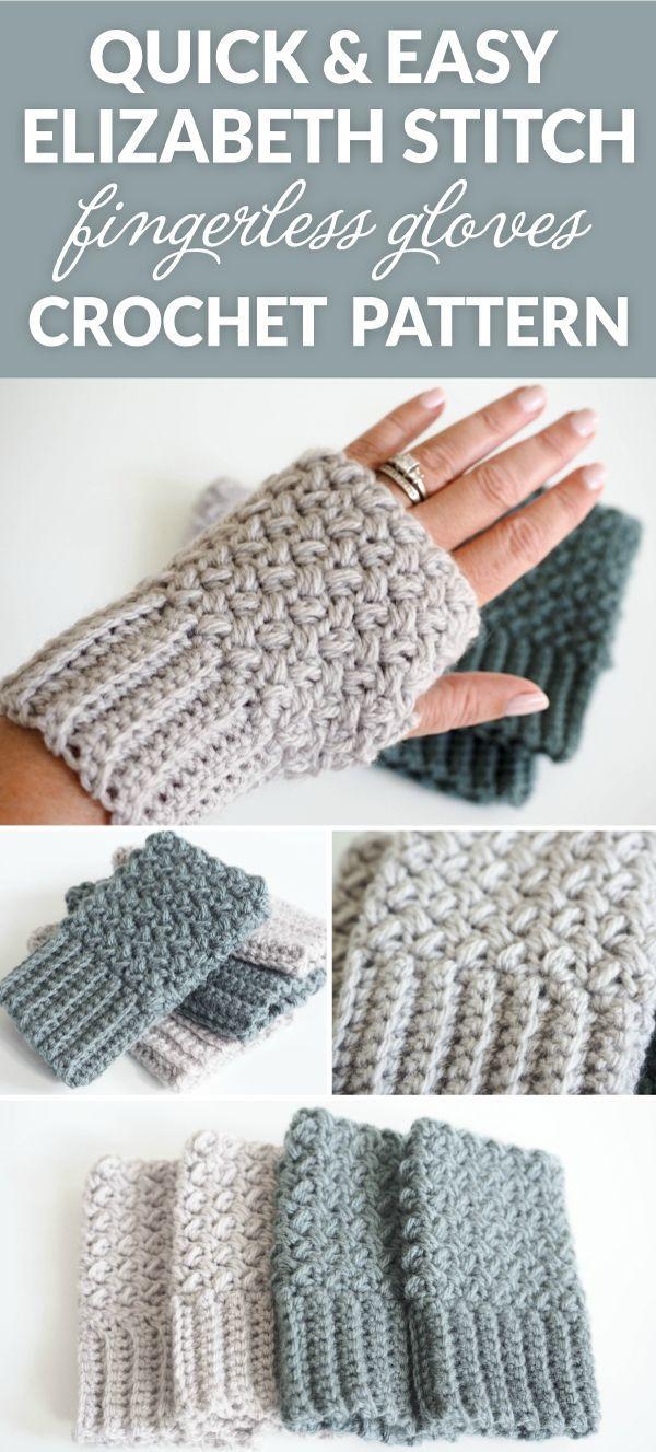 Easy Elizabeth Stitch Fingerless Gloves Crochet Pattern   Crafting ...