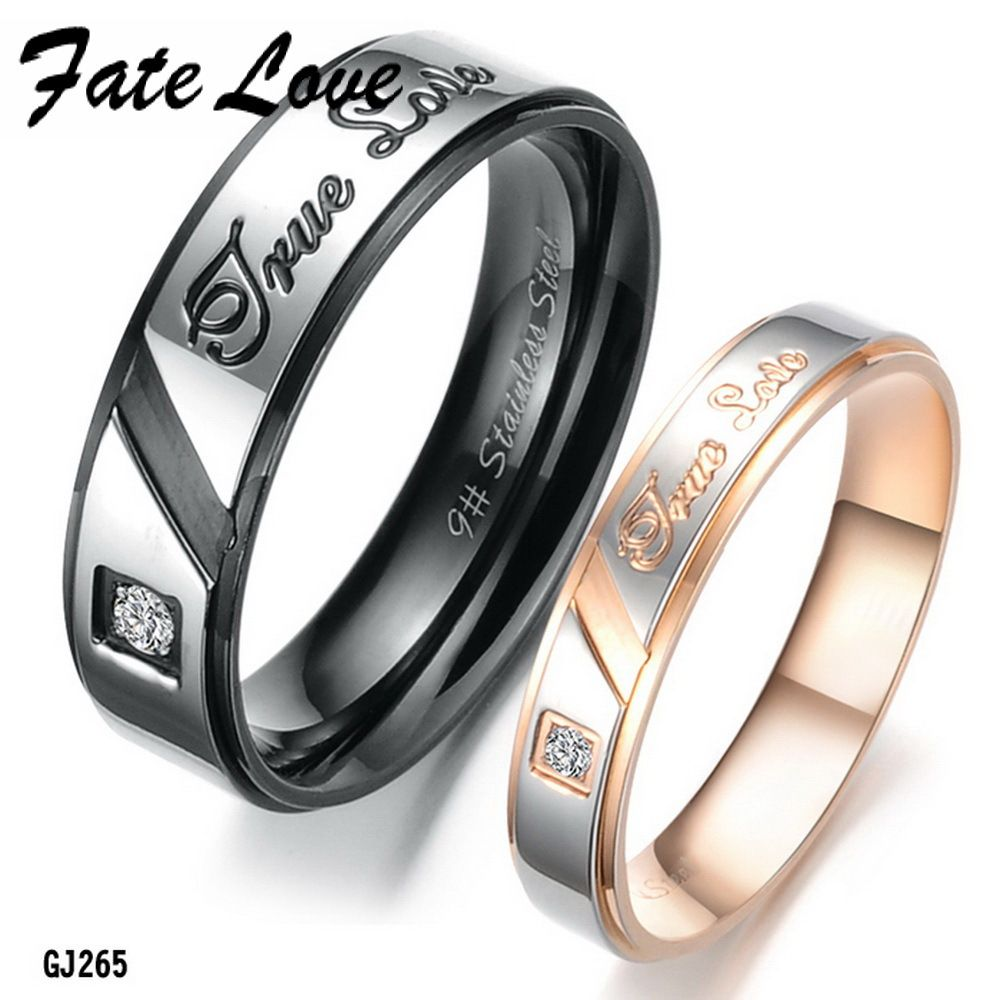 Fate Love Trendy Lovers Anniversary Rings Sparkling Cz Stainless