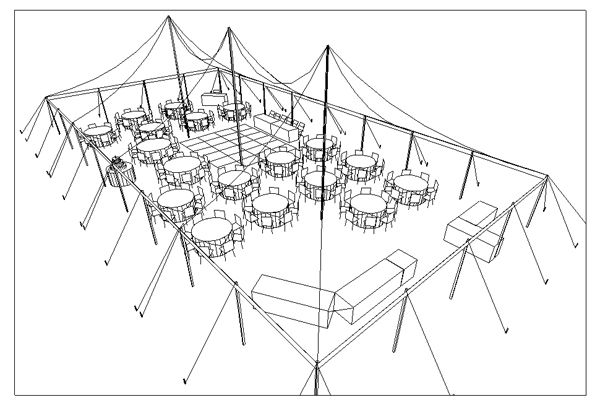 3 d view for wedding reception with 150 guests