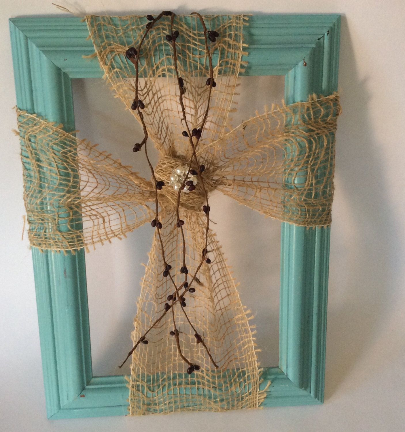 Rustic style burlap cross on wooden frame by DottyCottage1 on Etsy ...