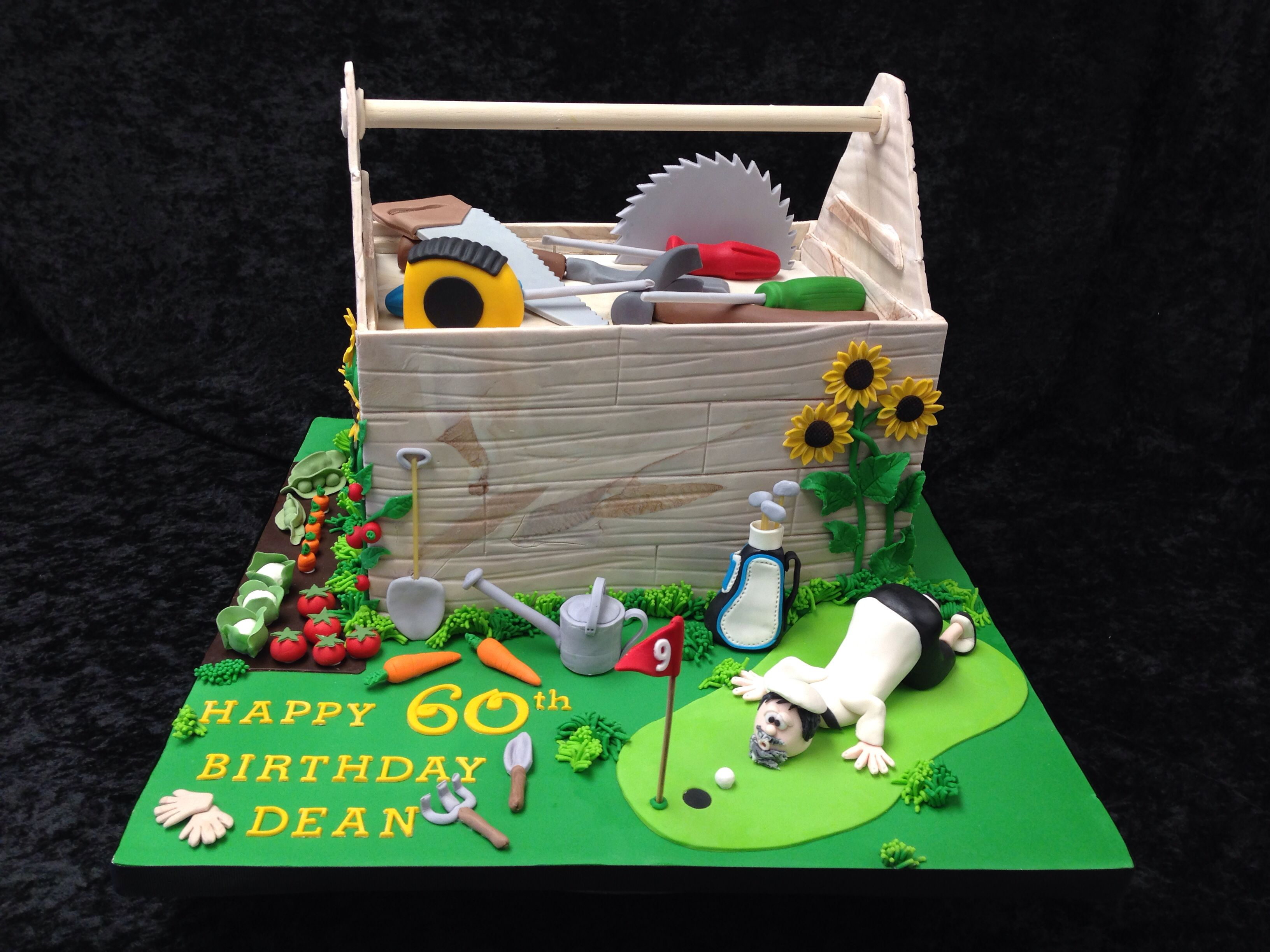 Novelty Cake With Three Themes Carpentry Gardener And