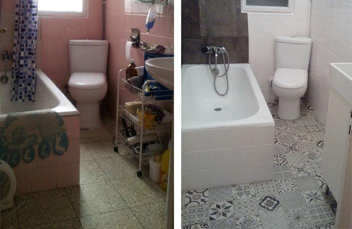 Reforma de ba o sin obra suelo vinilico hidraulico leroy Revestimiento vinilico para banos
