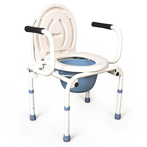 Enjoyable Gfywz Folding Commode Chair Healthcare Portable Adjustable Theyellowbook Wood Chair Design Ideas Theyellowbookinfo