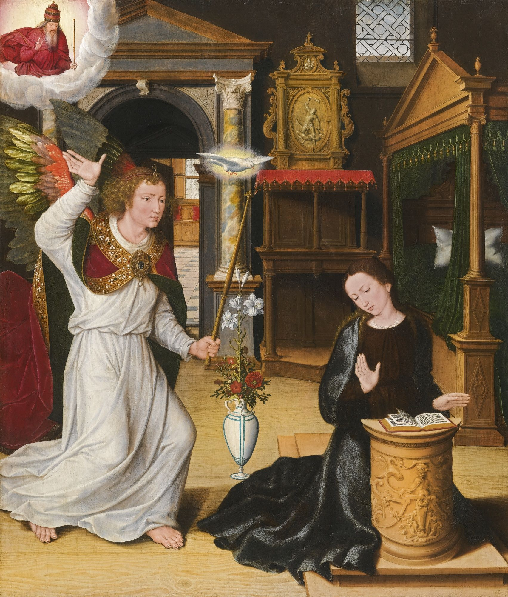 School of Bruges, 16th, THE ANNUNCIATION, oil on oak panel, 90.5 by 77 cm - closely related to the painting of the same subject by Pieter Pourbus of 1552, generally considered the most important early masterpiece by the artist (Stedelijke Musea, Gouda). When the Annunciation was exhibited in the show From Memling to Pourbus: Bruges and the Renaissance (Memlingmuseum – Out Sint Janshospitaal, Bruges, 15 August – 6 December 1998)