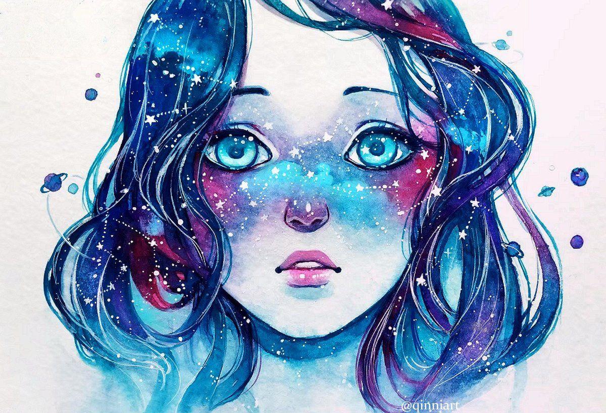 Картинки девочки с волосами космос