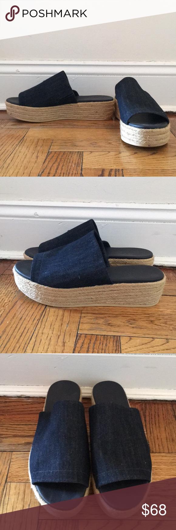 150a14de3a3 Vince Denim Platform Espadrilles size 7 Vince Solana denim espadrille  platform slide sandals. size 7