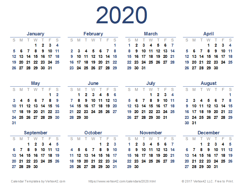 Printable Yearly Calendar 2020.Download A Free 2020 Calendar From Vertex42 Com Printable