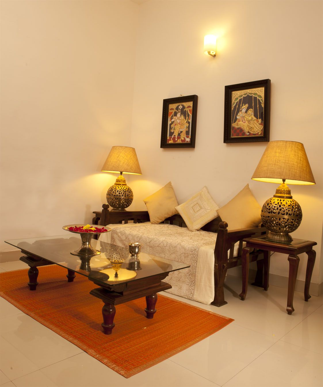 Indian Home Decoration Two Seater Diwan With Center Table And Side Tables Home