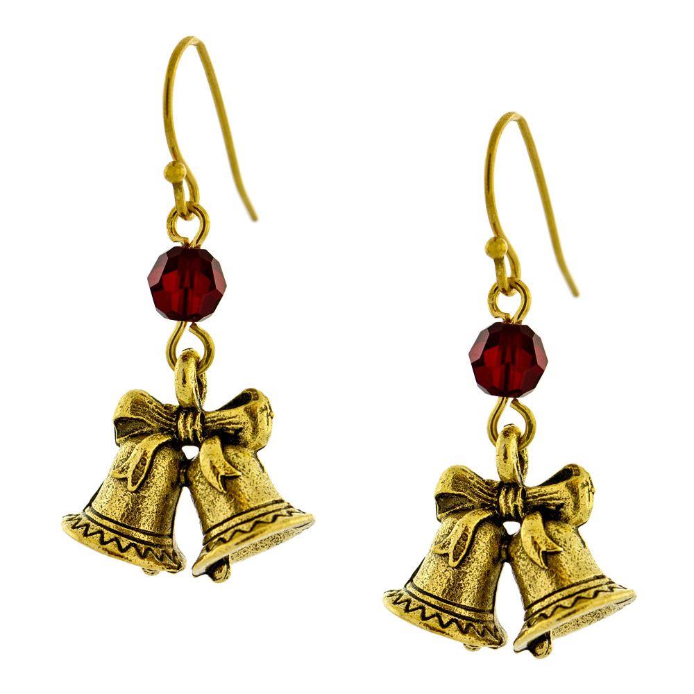 Brincos cristal sw siam + berloque sino duplo - Sweet Bells Earrings -Fusion Beads